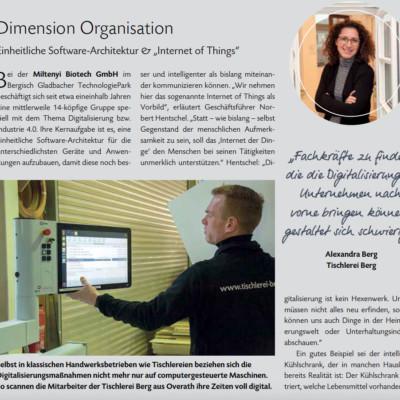 """Digitalisierung in der Tischlerei Berg –Beitrag im Wirtschaftsmagazin """"punkt.RBW"""""""